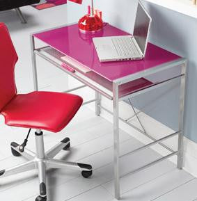 Mainstays Glass-Top Desk-Fuchsia