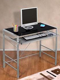 Mainstays Glass Top Desk-Black