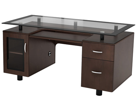"Belaire Glass ""L"" Desk"
