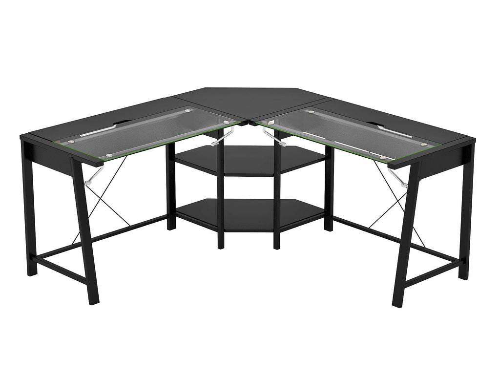designs glass line desk shaped z products computer vance l belaire inc