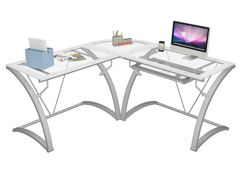 furniture l z interior lovely fice steel belaire wid hei line desk modern glass computer stainless elegant best shaped of od p