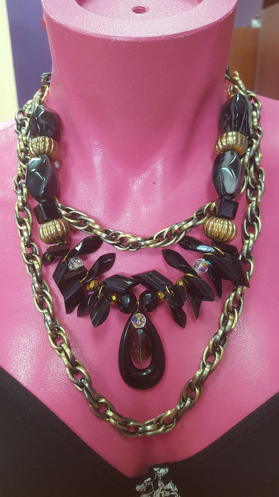 Black Stone/Gold Rope Necklace & Earring Set