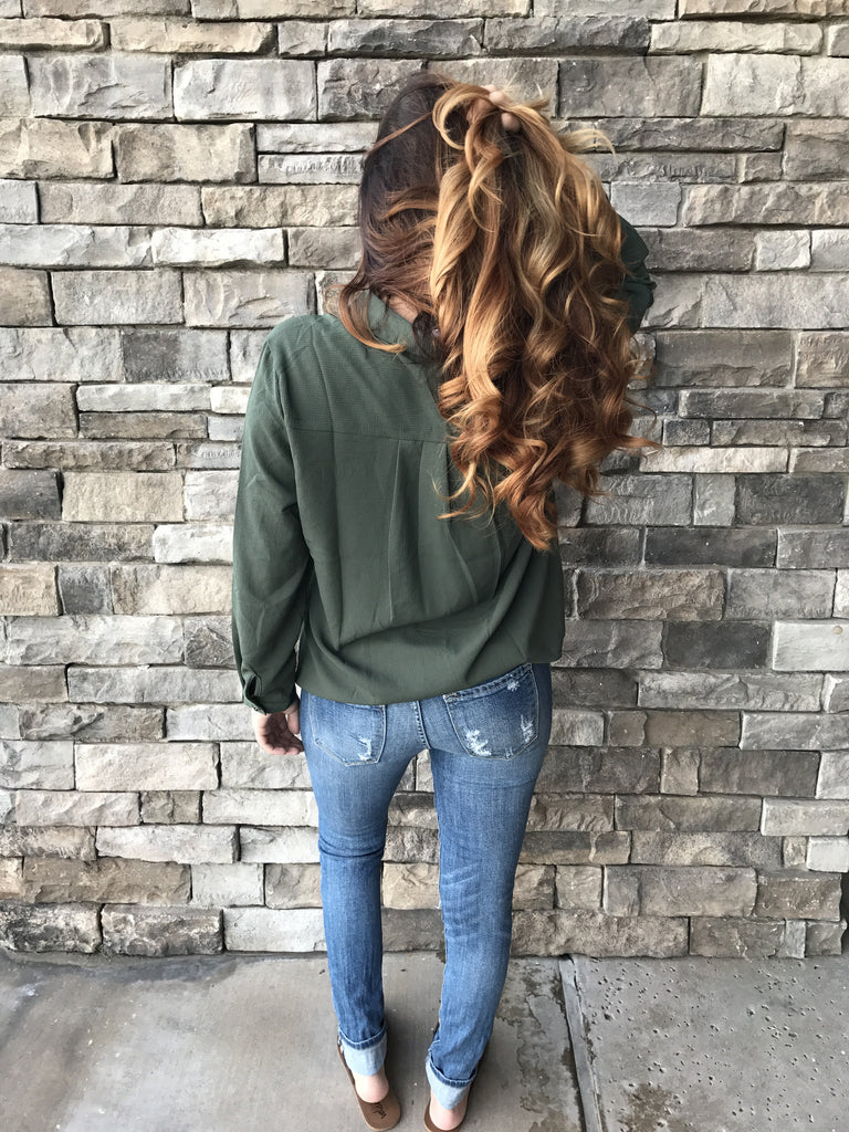 Laced up long sleeve olive blouse