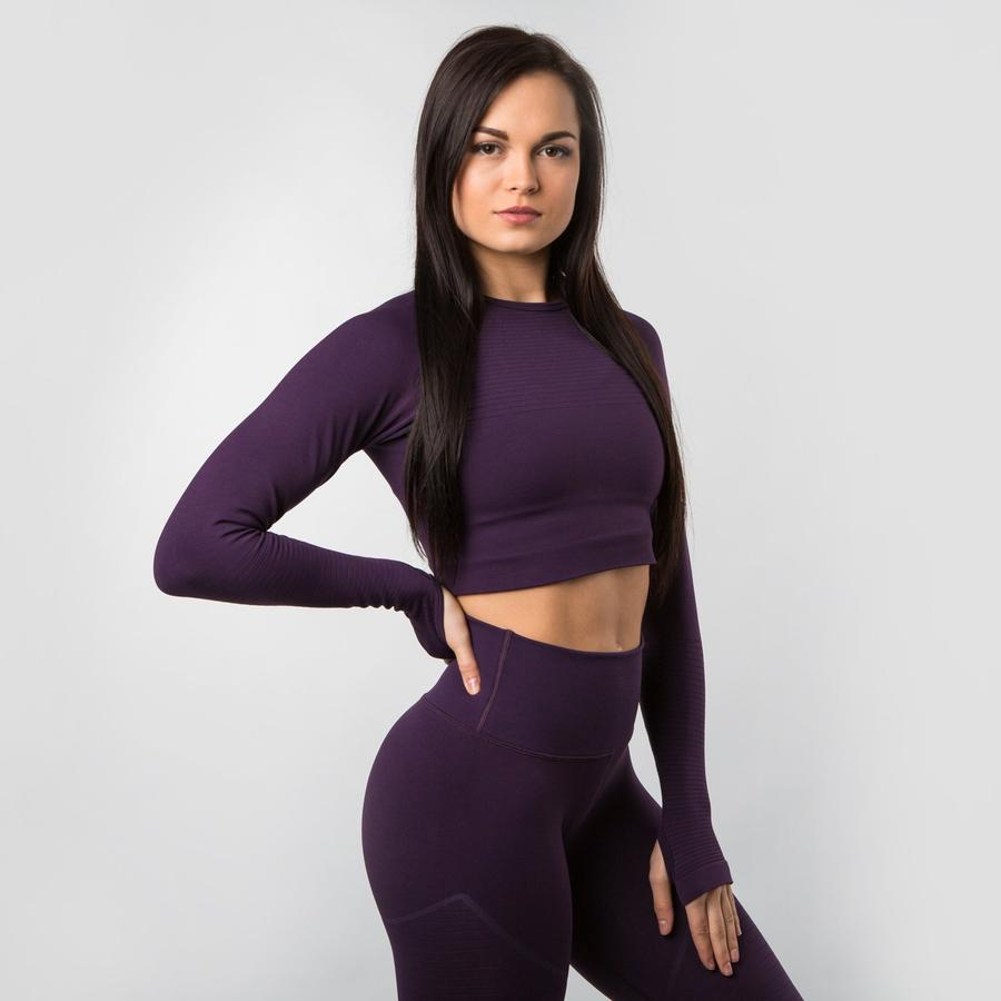 Revival Long Sleeve Crop - Purple Noir