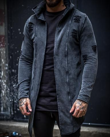 Blaise Longline Distressed Cardigan Hoodie - Acid Grey