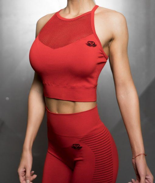 FREYA Seamless Crop Top- Fire Red