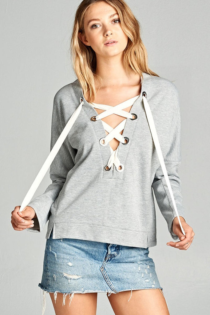 B3 Lace-up Warm up Sweater - Grey