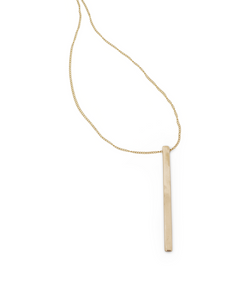 Minoux Jewelry gold bronze long rectangle pendant