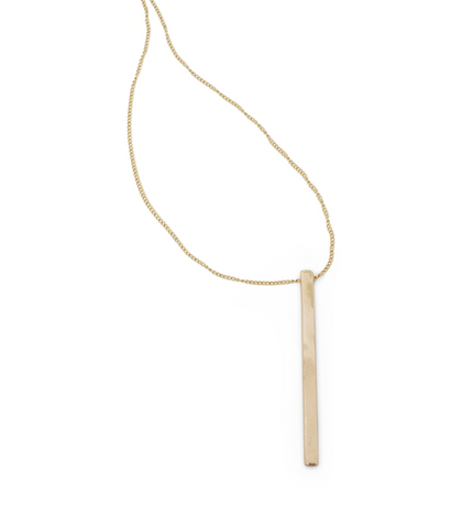 Necklace 05-Minoux Jewelry gold bronze long rectangle pendant