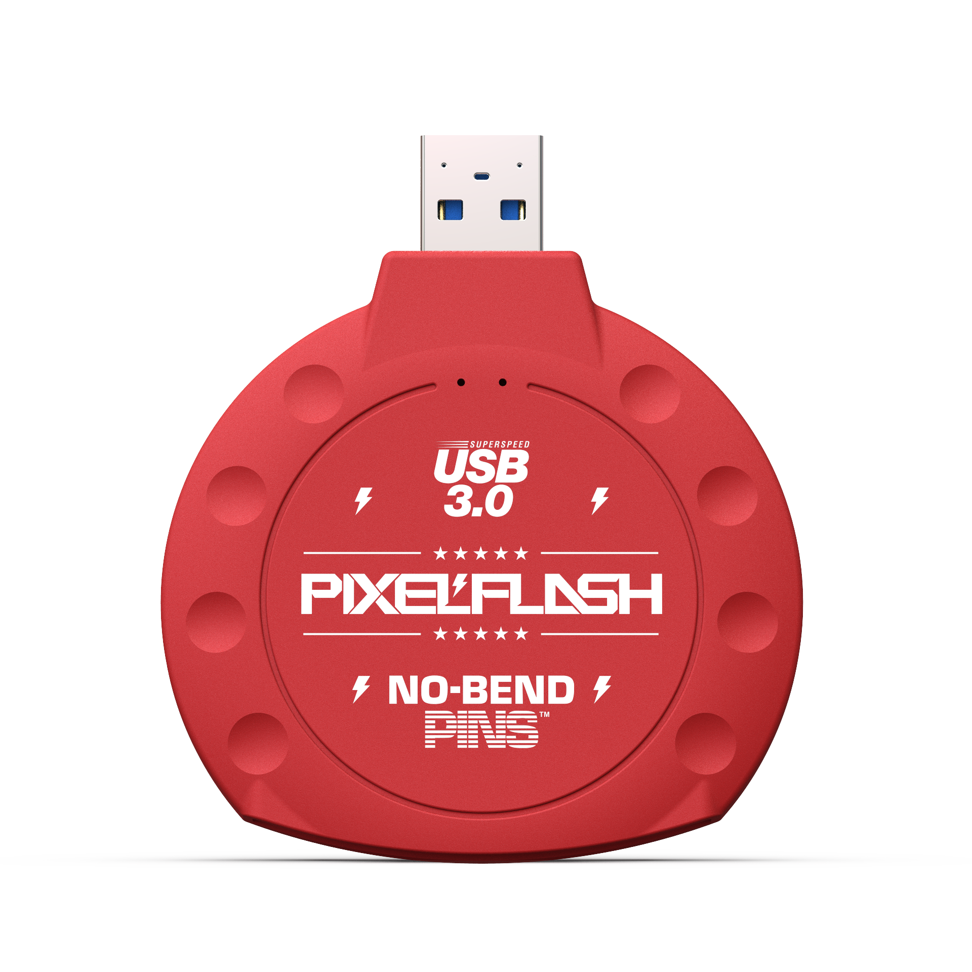 No-Bend Pins™ USB 3 | Classic CF Reader - in Red Color