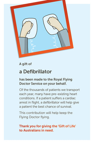 'Gift of Life' card: Defibrillator