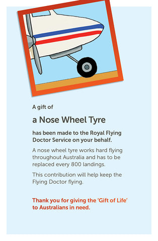 'Gift of Life' card: Nose Wheel Tyre