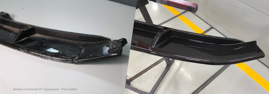 Before and after of a carbon fiber repair performed on a Bentley Continental GT Supersports front splitter