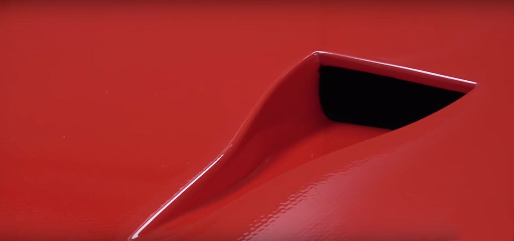 Close up of the Ferrari F40 carbon fiber weave underneath the paint
