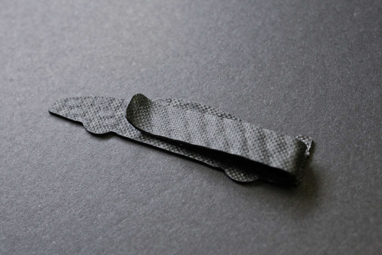 F1 carbon fiber tie clip, back side