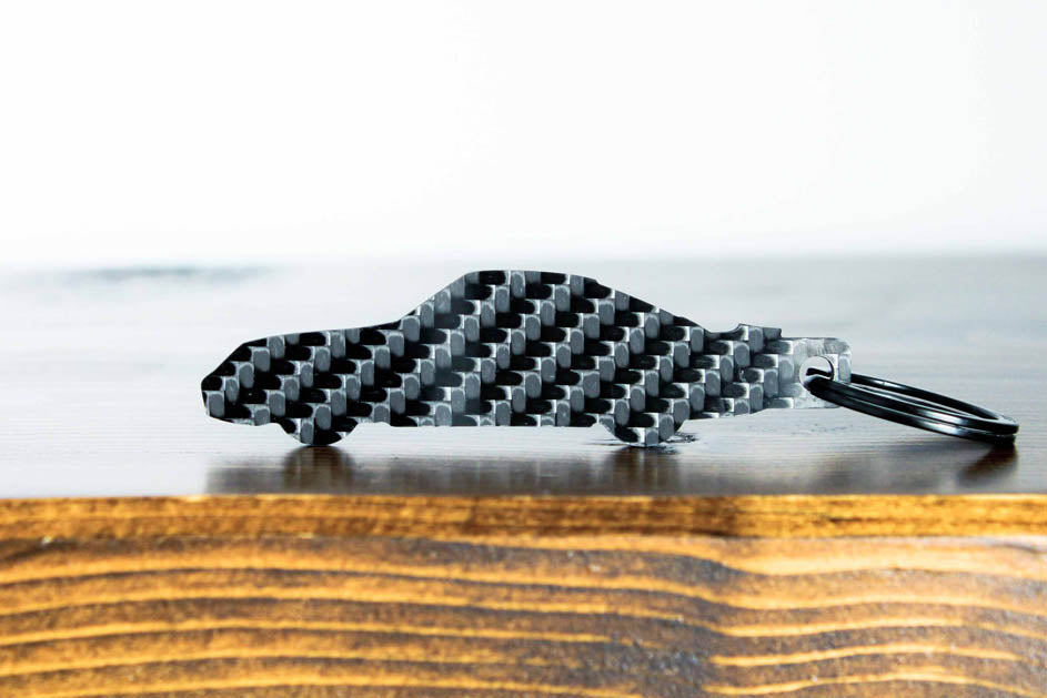 A 959 carbon fiber keychain, rear view