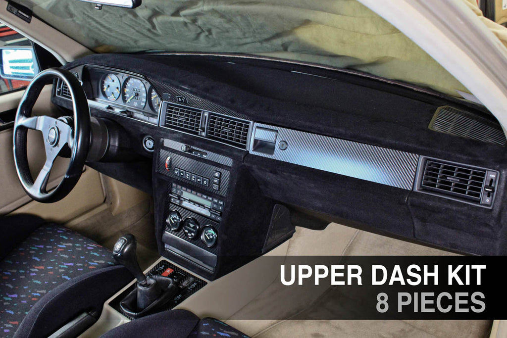 190E (W201) - Upper dash kit - Carbon fiber trim - 8 PIECES