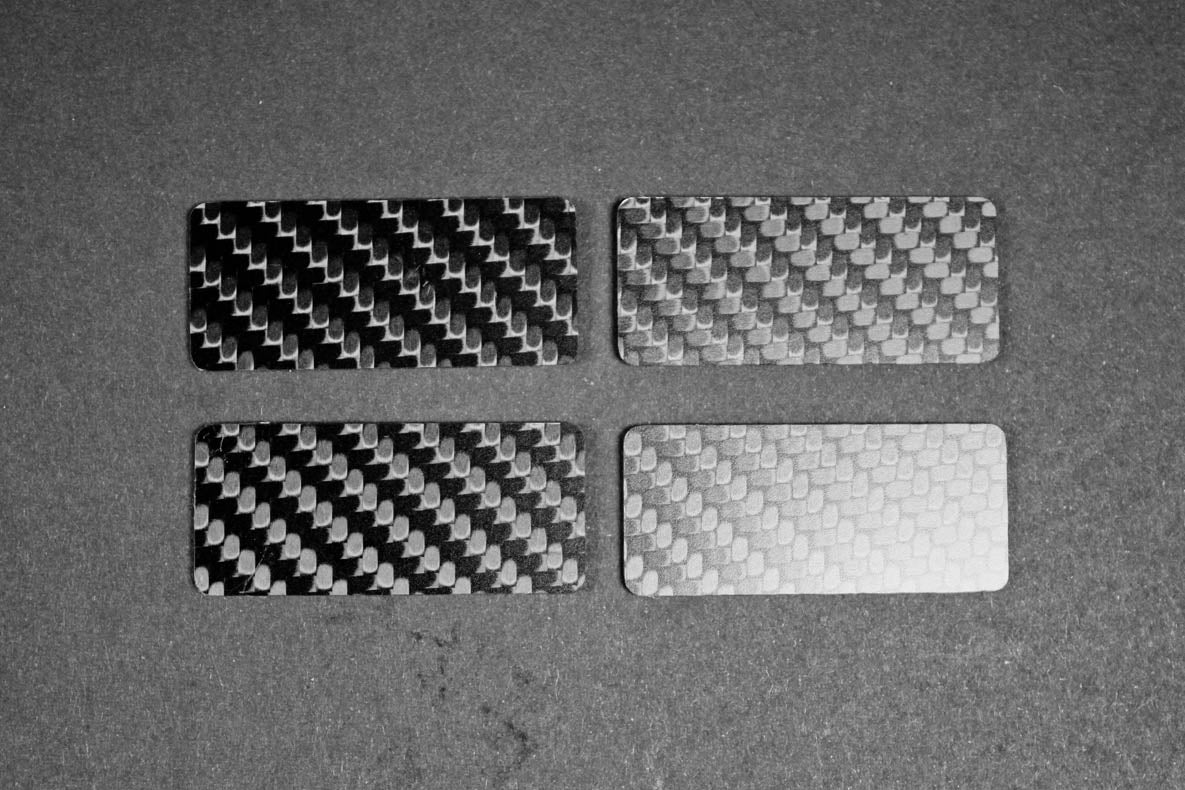 "Carbon fiber ""button blanks"" as part of the carbon fiber interior kit"
