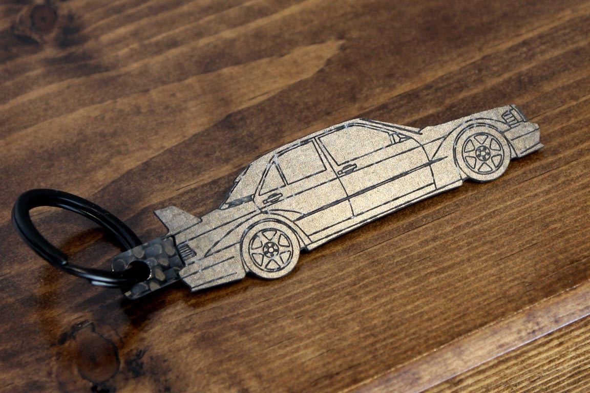 190E Evolution 2 carbon fiber keychain