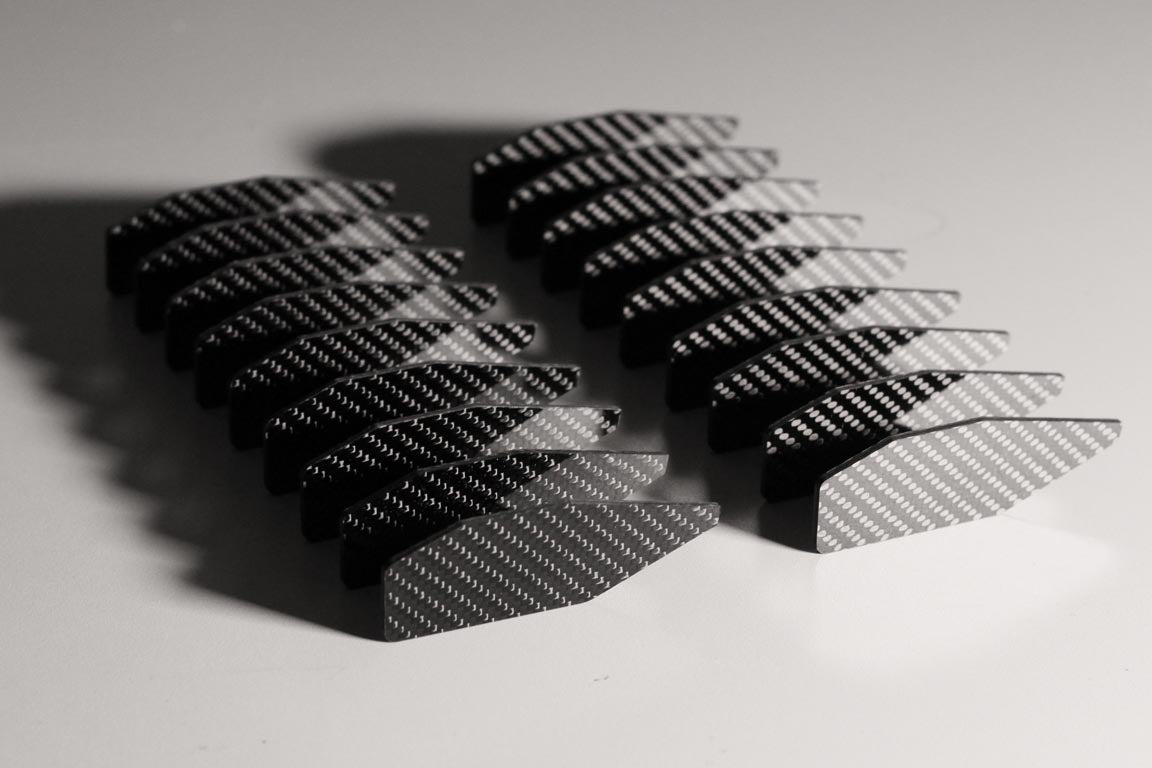 CNC carbon fiber fins for a turbofan