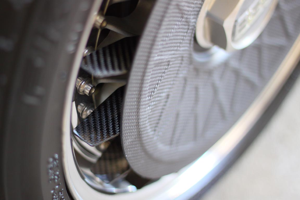 A carbon fiber turbofan on a BBS RS 3-piece wheel