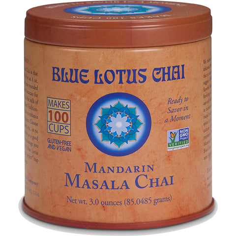 Blue Lotus Chai - Mandarin Masala Chai 85 gram tin - Makes 100 cups- 30% OFF