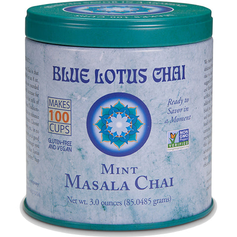 Blue Lotus Chai - Mint Masala Chai 85 gram tin - Makes 100 cups - 30% OFF