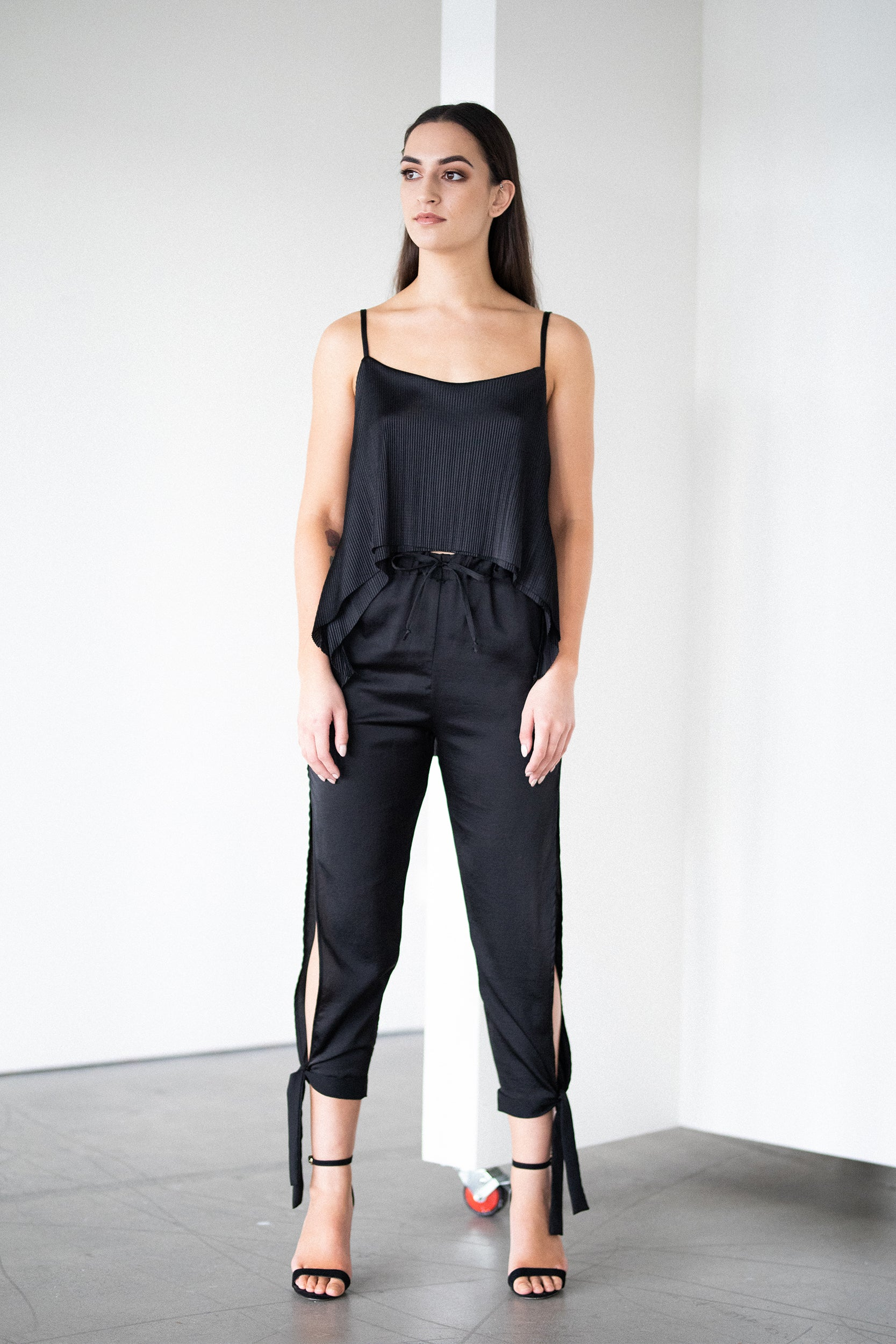 Ankle Tie Satin Trouser in Black