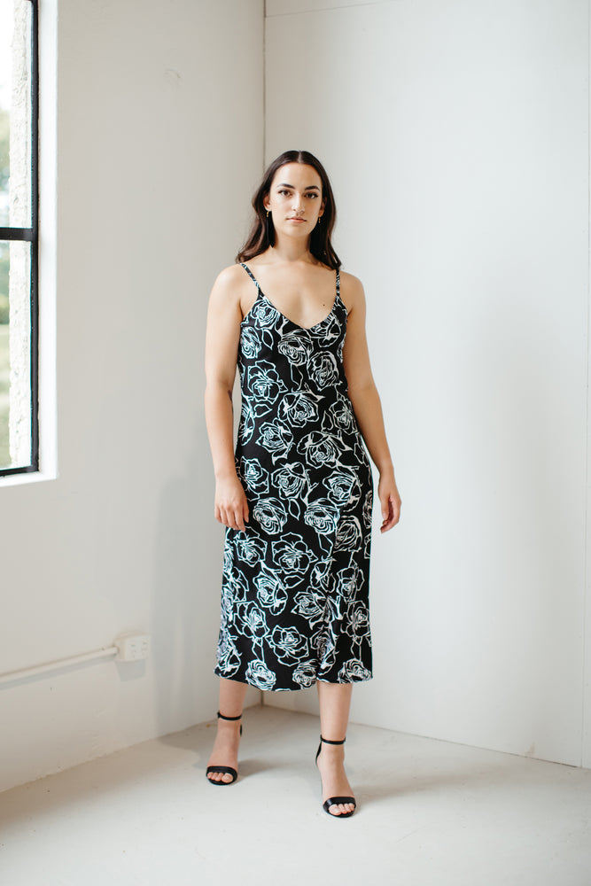 Mahara – Rose Print Slip Dress