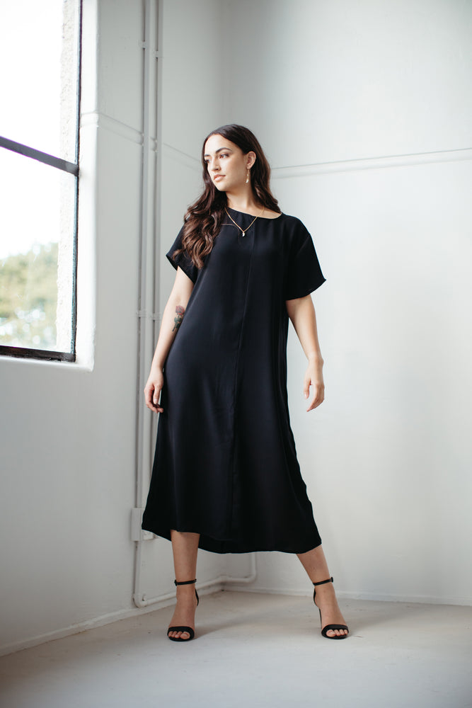 Ngāwari – T-Shirt Sleeve Styled Dress in Black
