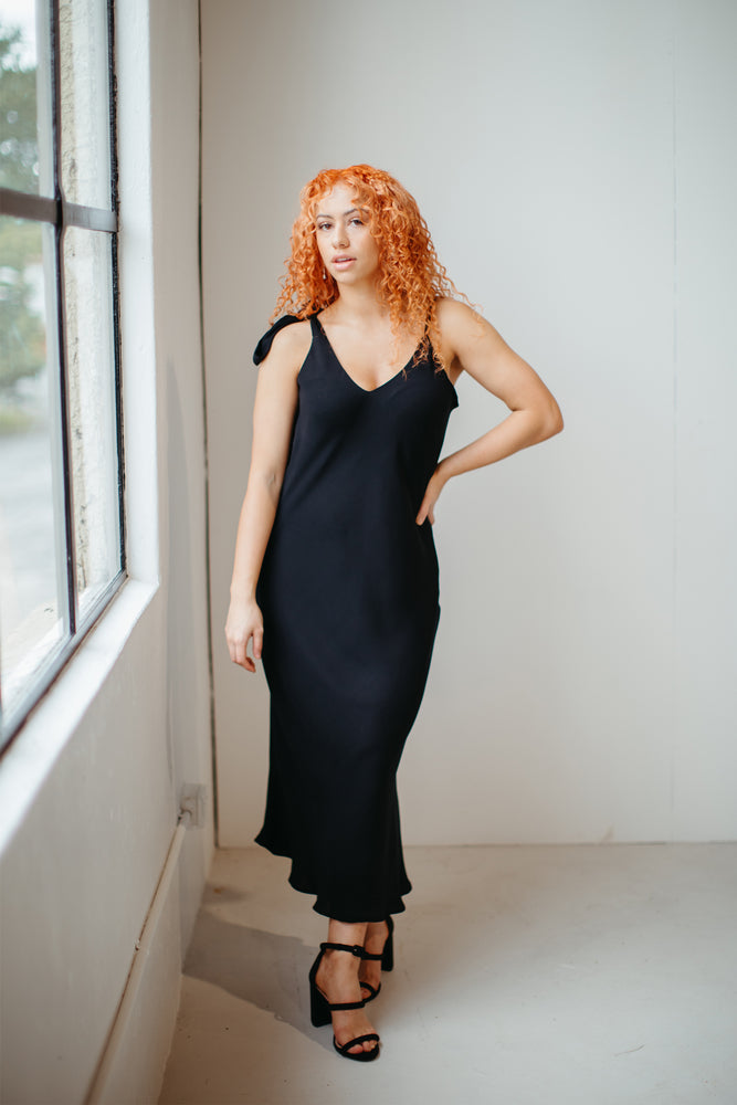 Load image into Gallery viewer, Pūmanawa – Tie Shoulder Dress in Black