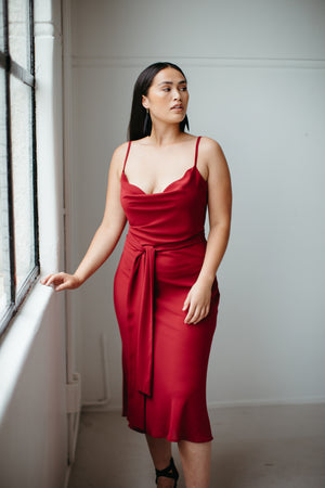 Uma – Cowl Neck Slip Dress in Hearts Red