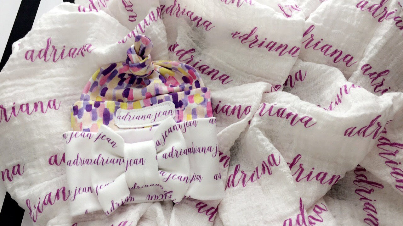 Organic Personalized Muslin Receiving Blanket/or Set