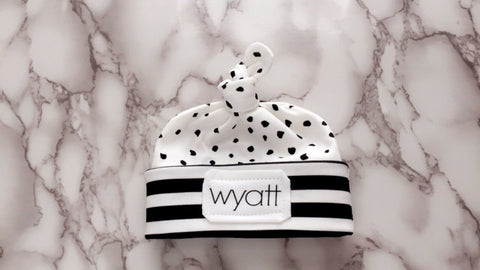 Personalized Swaddle or Personalized Swaddle Set - Monochrome black + white
