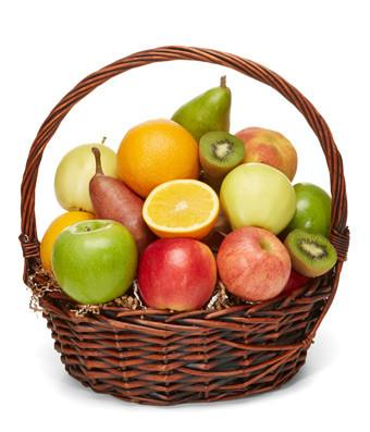 Mixed fruits arranged in a basket for delivery in Trinidad Tobago.