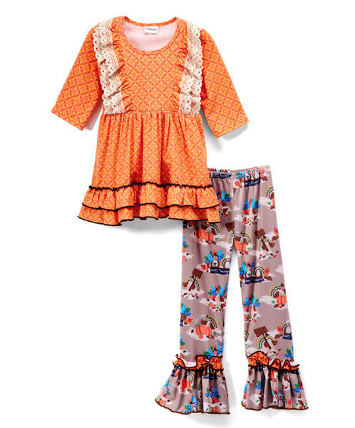 Orange & Brown Turkey Lace-Trim A-Line Dress & Pants