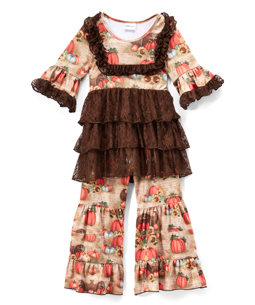Pumpkin & Brown Lace Ruffle A-Line Dress & Pants