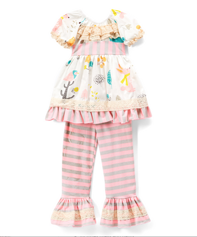 Pink & White Woodland Animal Lace-Trim Babydoll Dress & Pants