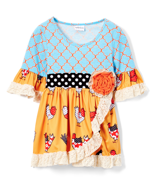 Blue & Orange Geometric Turkey Lace-Accent A-Line Dress