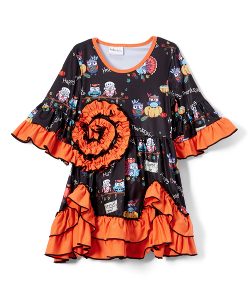Black & Orange Turkey Scallop-Hem Dress