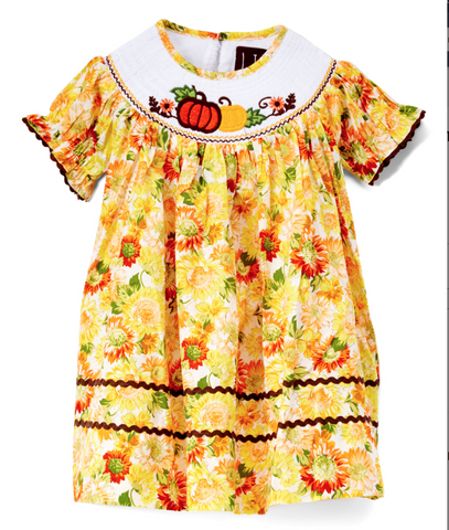 Orange Floral & Pumpkins Smocked Bishop Dress