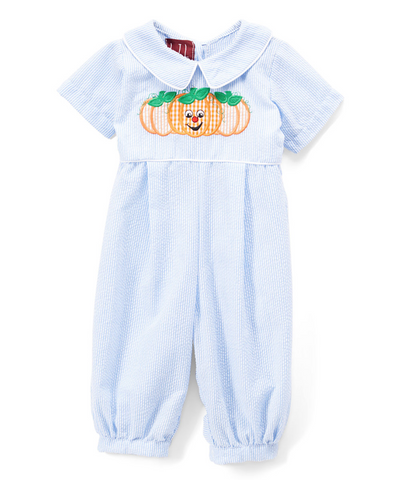 Light Blue Seersucker Pumpkin Romper