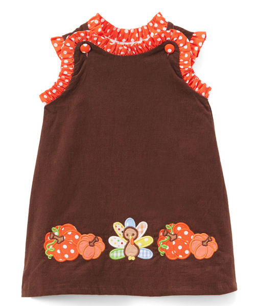 Brown Pumpkin & Turkey Corduroy Swing Dress