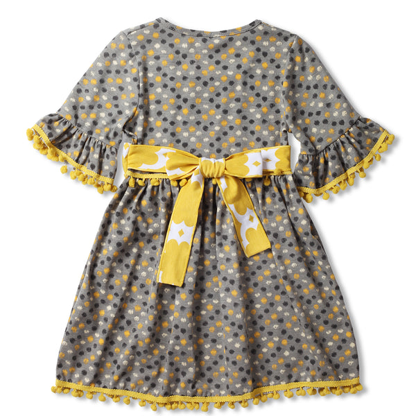 Gray and Yellow Pom-Pom Swing Dress with Sash