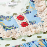 Pale Green and Blue Polkadot Ruffle Top and Pant Set