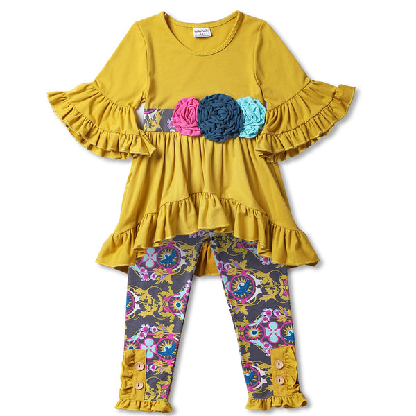 Yellow and Mauve Ruffle Top and Pant Set