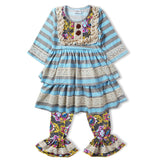 Girls blue striped ruffle top with lace and pant set