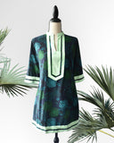 Athena Printed Green Tunic Dress - Cole Vintage