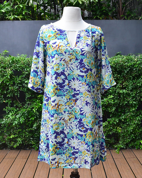 Julie Printed Blue - Tunic Dress