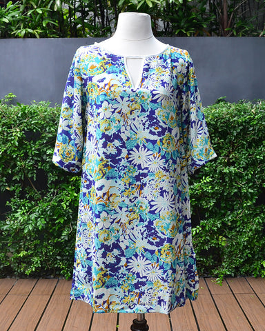 Julie Printed Blue - Tunic Dress - Cole Vintage